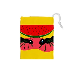 Ants and watermelon  Drawstring Pouches (Small)