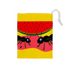 Ants and watermelon  Drawstring Pouches (Medium)