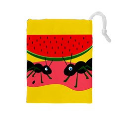 Ants and watermelon  Drawstring Pouches (Large)