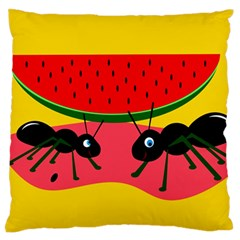 Ants and watermelon  Large Flano Cushion Case (One Side)
