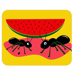Ants and watermelon  Double Sided Flano Blanket (Medium)