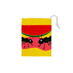 Ants and watermelon  Drawstring Pouches (XS)