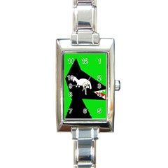Wolf and sheep Rectangle Italian Charm Watch