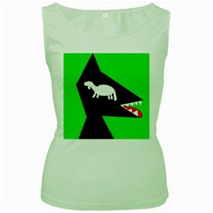 Wolf and sheep Women s Green Tank Top