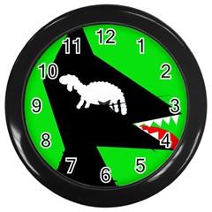 Wolf and sheep Wall Clocks (Black)