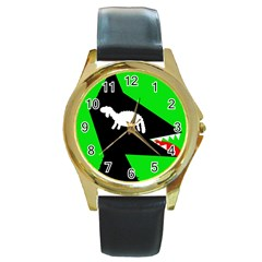 Wolf and sheep Round Gold Metal Watch