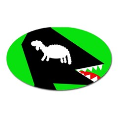 Wolf And Sheep Oval Magnet