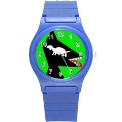 Wolf and sheep Round Plastic Sport Watch (S)