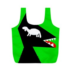 Wolf and sheep Full Print Recycle Bags (M)