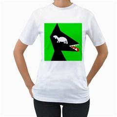 Wolf and sheep Women s T-Shirt (White)