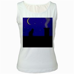 Cat on the roof  Women s White Tank Top