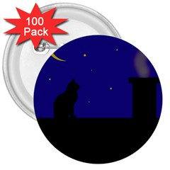 Cat on the roof  3  Buttons (100 pack)