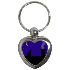 Cat on the roof  Key Chains (Heart)