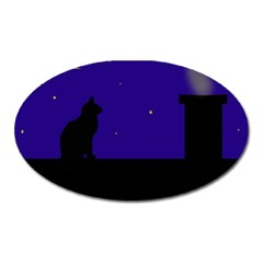 Cat On The Roof  Oval Magnet