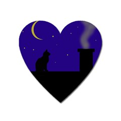 Cat on the roof  Heart Magnet