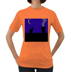 Cat on the roof  Women s Dark T-Shirt