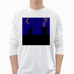 Cat on the roof  White Long Sleeve T-Shirts