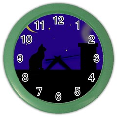 Cat on the roof  Color Wall Clocks