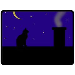 Cat on the roof  Fleece Blanket (Large)