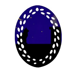 Cat on the roof  Ornament (Oval Filigree)