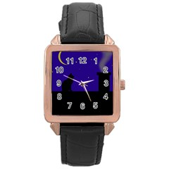 Cat on the roof  Rose Gold Leather Watch