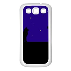 Cat on the roof  Samsung Galaxy S3 Back Case (White)