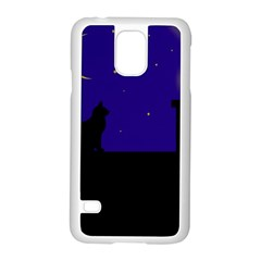 Cat on the roof  Samsung Galaxy S5 Case (White)