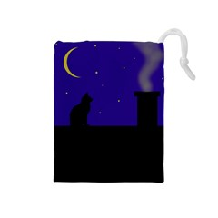 Cat on the roof  Drawstring Pouches (Medium)