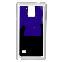Cat on the roof  Samsung Galaxy Note 4 Case (White)