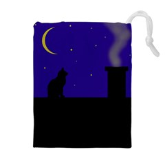 Cat On The Roof  Drawstring Pouches (extra Large)