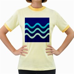 Blue waves  Women s Fitted Ringer T-Shirts