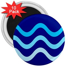 Blue waves  3  Magnets (10 pack)