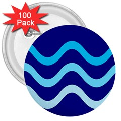 Blue waves  3  Buttons (100 pack)