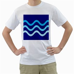 Blue waves  Men s T-Shirt (White) (Two Sided)