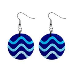Blue waves  Mini Button Earrings