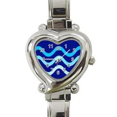 Blue waves  Heart Italian Charm Watch