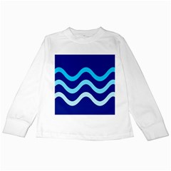 Blue waves  Kids Long Sleeve T-Shirts