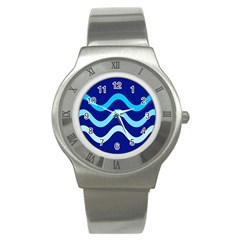 Blue Waves  Stainless Steel Watch