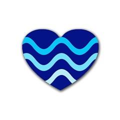 Blue waves  Rubber Coaster (Heart)