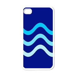 Blue waves  Apple iPhone 4 Case (White)