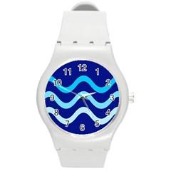 Blue waves  Round Plastic Sport Watch (M)