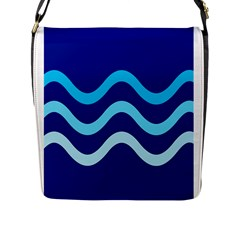 Blue waves  Flap Messenger Bag (L)