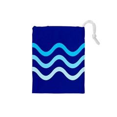 Blue waves  Drawstring Pouches (Small)