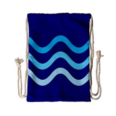 Blue waves  Drawstring Bag (Small)