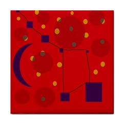 Red Abstract Sky Tile Coasters