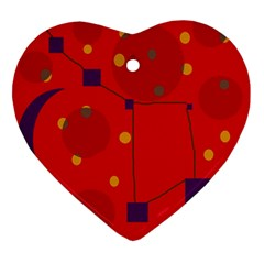 Red abstract sky Ornament (Heart)