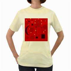 Red abstract sky Women s Yellow T-Shirt