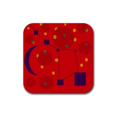 Red abstract sky Rubber Coaster (Square)