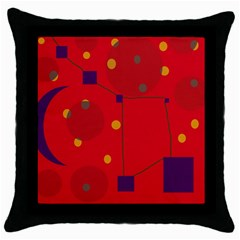 Red abstract sky Throw Pillow Case (Black)