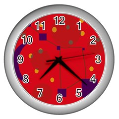 Red abstract sky Wall Clocks (Silver)
